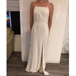 Stone Cold Fox white backless slit maxi dress